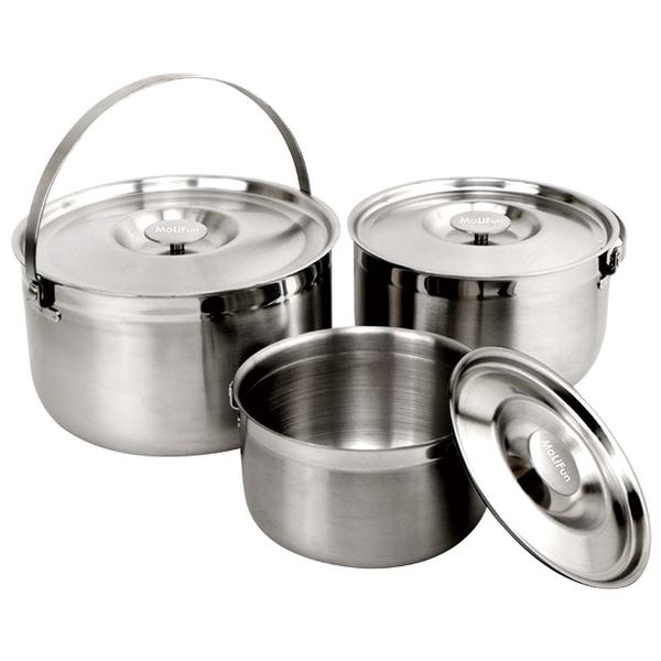 MoLiFun魔力坊 台灣製316不鏽鋼內鍋/調理鍋/三件式提鍋(16+19+22CM)~適用電磁爐(MF0418)