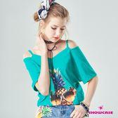 【SHOWCASE】V領細肩帶露肩個性鳳梨印花T恤(綠)