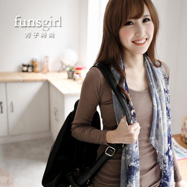 韓版圓領素面百搭坑條長版T恤-17色~funsgirl芳子時尚