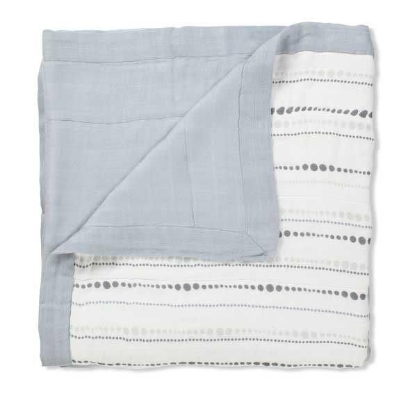 【盒裝正品】美國 aden + anais 嬰幼兒竹纖維被毯/被子/毛毯/禮盒/彌月~灰色水滴