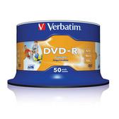 ◆免運費◆Verbatim 威寶 AZO 16X DVD-R 4.7GB 珍珠白滿版可印片 空白光碟片(50片布丁桶X2) 100PCS