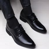夏季皮鞋男士正韓鞋子商務正裝尖頭男鞋青年英倫小黑色新郎休閒鞋