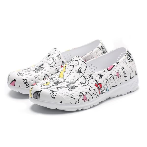 PONY TROPIC 白 可愛塗鴉 防水 水鞋 洞洞鞋 中童(布魯克林)2019/5月 92K1SA08RW