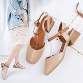 韓版時尚涼鞋百搭粗跟包頭一字扣帶方頭羅馬鞋女鞋