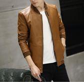 新款秋冬男士皮衣 韓版修身帥氣皮夾克 男士青年薄款機車外套 加絨加厚男士時尚保暖外套