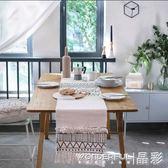 桌旗 ins風北歐摩洛哥幾何黑白流蘇簇絨桌旗桌布餐桌布 晶彩生活