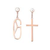 耳環 Earring Monogram Pearl Cross 玫瑰金 銅鍍 珍珠 貝殼 十字架