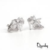Quenby 灰姑娘夢幻高跟鞋無耳洞耳環/耳夾式