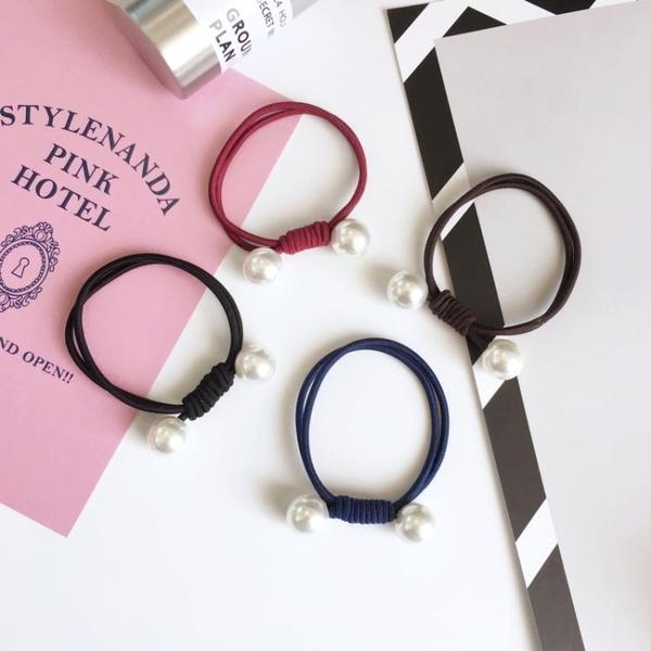 [協貿國際]簡約氣質珍珠蝴蝶結髮繩髮圈扎頭髮橡皮筋頭飾1入