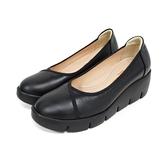 MICHELLE PARK 典範‧圓頭楔型厚底包鞋〈黑〉