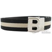 茱麗葉精品【全新現貨】  BALLY 黑白織帶雙面B扣環皮帶.黑白/黑