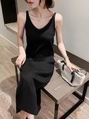 吊帶洋裝 2021春秋新款針織吊帶連身裙女背心長裙中長款黑色內搭打底裙修身 童趣屋 免運