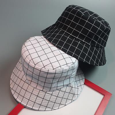 漁夫帽盆帽ManStyle潮流嚴選韓版復古格紋格子刺繡平頂情侶漁夫帽盆帽【02U0203】