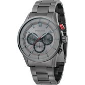 【台南 時代鐘錶 POLICE】義式潮流 經典品味三眼計時腕錶 15001JSU-13M 鐵灰 45mm