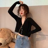 短版上衣 2019秋季新款韓版修身顯瘦短款露臍上衣V領針織長袖防曬襯衫女