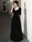 宴會晚禮服裙女2019新款氣質長款平時可穿黑色法式高貴絲絨主持人 全館免運快速出貨