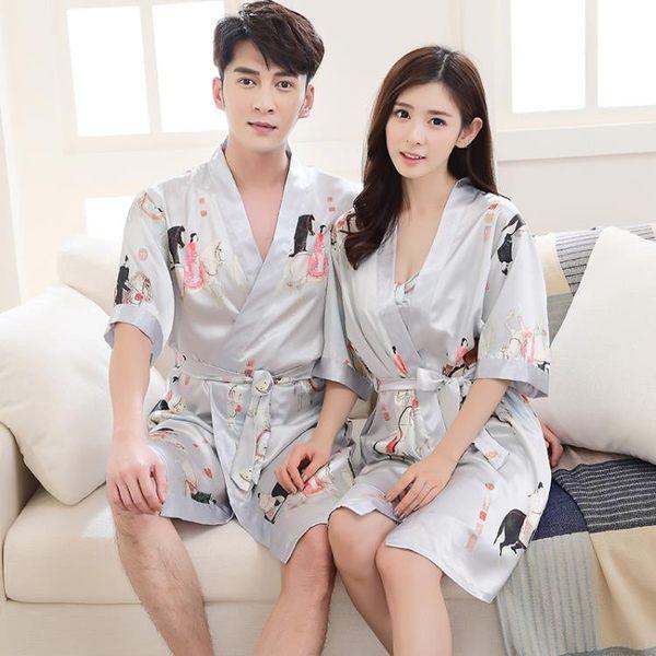 雙12購物節   夏季男女日式和服睡衣薄款冰絲綢情侶睡袍兩件套春秋性感浴袍浴衣   mandyc衣間