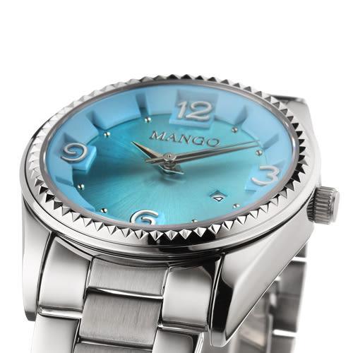 MANGO 耀眼奪目不鏽鋼時尚腕錶-藍/36mm