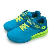 LIKA夢 LOTTO 彈力氣墊慢跑鞋 炫彩系列 藍螢綠 3456 大童