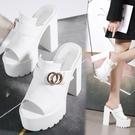 魚口鞋 超高跟粗跟涼鞋14CM防水臺鬆糕厚底魚嘴鞋夜店性感防滑外穿女拖鞋