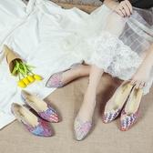 韓版春夏季新款尖頭平底鞋女單鞋平跟淺口四季鞋簡約拼色女鞋 依夏嚴選