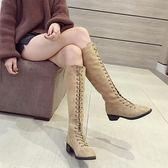 長靴女韓版繫帶中長筒靴秋冬高筒靴騎士靴 SDN-0559