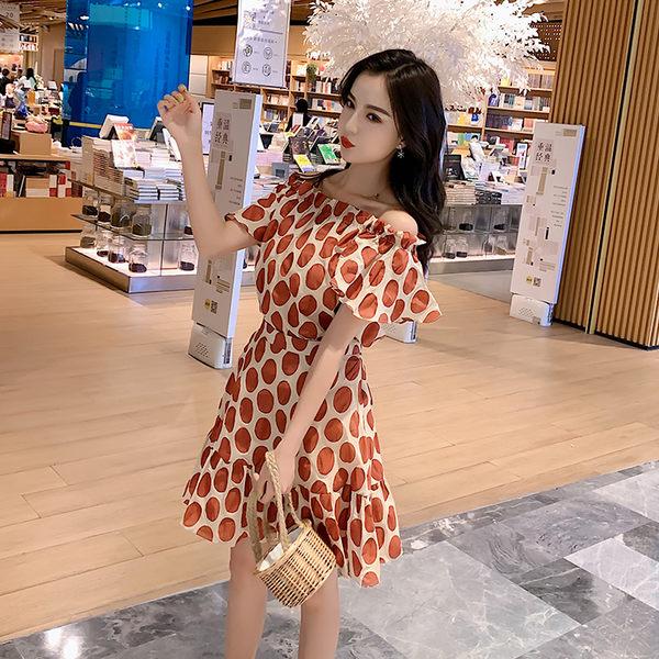 VK旗艦店 韓系一字領波點荷葉邊套裝短袖裙裝