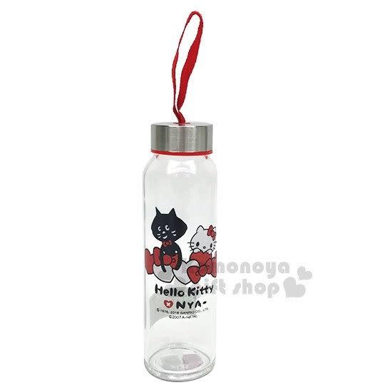 〔小禮堂〕Hello Kitty x NYA 玻璃水瓶《透明. 銀蓋.蝴蝶結》水壺.隨身瓶 4714581-08412