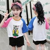 2020夏裝女童短袖t恤韓版洋氣中大童棉質上衣貓咪刺繡花兒童半袖 TR1440『寶貝兒童裝』