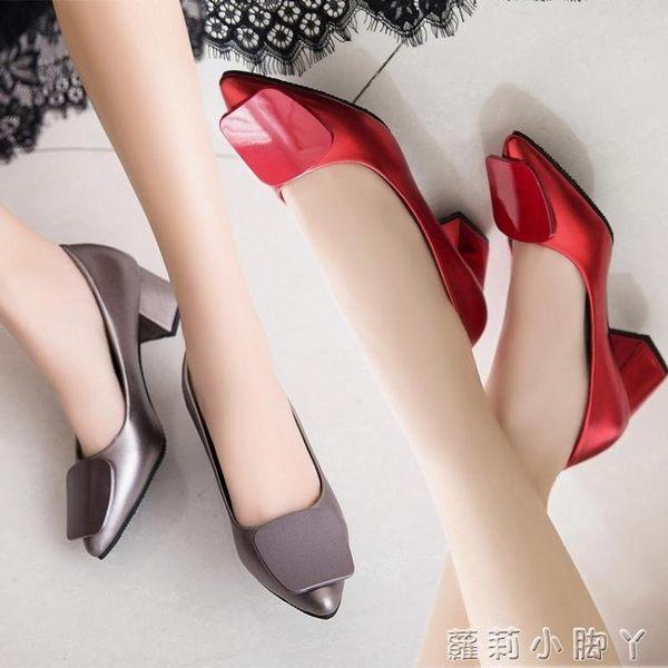 現貨清出粗跟鞋方扣單鞋尖頭淺口防滑黑色高跟鞋中跟工作鞋子7-31