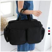 旅行袋-大容量方格素面旅行袋-共3色-A13130030-天藍小舖