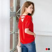 OB嚴選《AB3162-》交叉鏤空美背造型袖口打褶純色雪紡上衣.2色--適 S~L