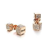 耳環 玫瑰金 925純銀鑲鑽-刻字方型生日情人節禮物女飾品2色73gs236【時尚巴黎】
