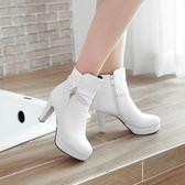 618年㊥大促 新款初秋短靴女高跟鞋子百搭時尚白色靴子圓頭粗跟秋天靴子