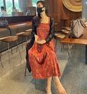 洋裝 氣質淑女風 復古酒紅百褶吊帶裙氣質中長款黑色開衫兩套裝218132F055快時尚