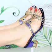 夏季高跟鞋 涼拖鞋粗跟羅馬鞋 水鑽時尚休閒鞋【多多鞋包店】z8101