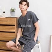 睡衣 男士睡衣夏季短袖短褲寬鬆加大碼中青全棉家居服套裝