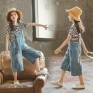 女童吊帶褲 牛仔吊帶褲套裝正韓時尚女孩洋氣寬鬆夏季兩件套-Ballet朵朵