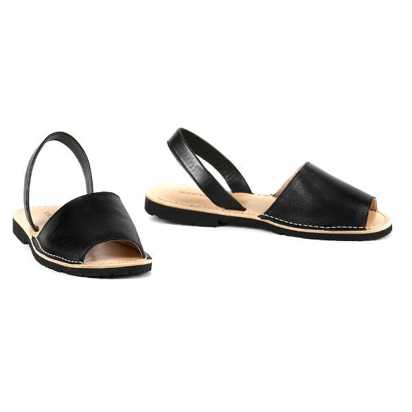 ALL BLACK   復古寬帶魚口平底涼鞋-- 黑