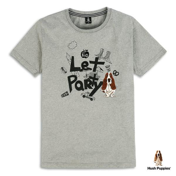 Hush Puppies 男裝Let party塗鴉刺繡狗T恤