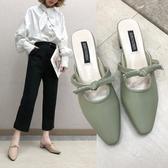 粗跟半拖鞋女中跟蝴蝶結仙女穆勒拖2019春新款時尚韓版外穿包頭拖