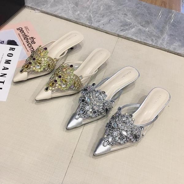 包頭涼鞋女2019夏季新款透明材質水鑽鑲鑽尖頭中跟包頭拖鞋308-3