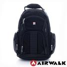 Backbager 背包族【美國 AIRWALK】簡約A字商務旅行/筆電後背包(黑色)