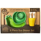 LET S GO ECO 綠色環保、植物玉米製 蝸牛造型兒童餐具組(綠色) 大樹