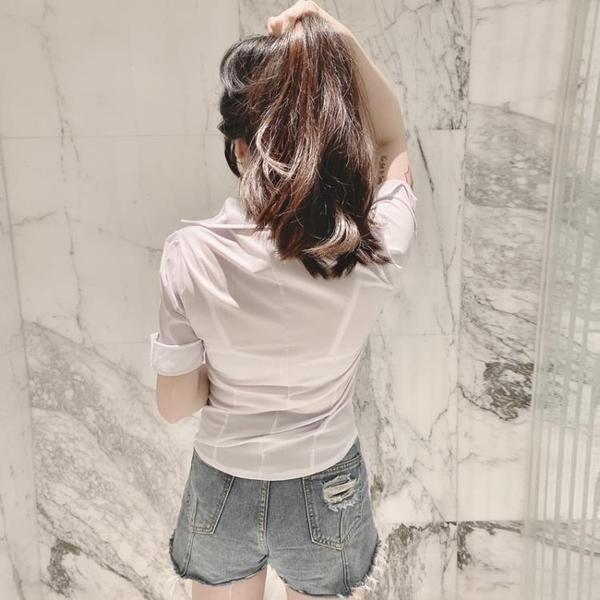 V領襯衫 立領短袖衫V領修身白色OL襯衫制服性感低胸上衣襯衣女裝-Ballet朵朵