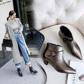 丁果、大尺碼女鞋34-46►韓版壓紋金屬扣尖頭踝靴中跟短靴子*3色