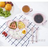 優惠兩天-兒童餐具寶寶卡通碗套裝分隔餐盤餐具五件套兒童訓練分餐盤家用3色
