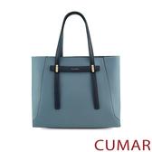 CUMAR  輕奢質感手提斜背包-青石藍