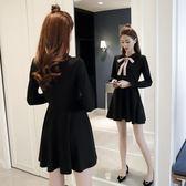 降價兩天-長袖洋裝秋季新長袖高腰赫本娃娃領小黑裙蝴蝶結修身a字蓬蓬連身裙女