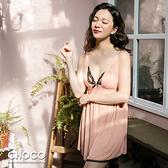 沁甜美之吻‧雪紡柔紗深V連身睡衣(粉色) S~XL Choco Shop